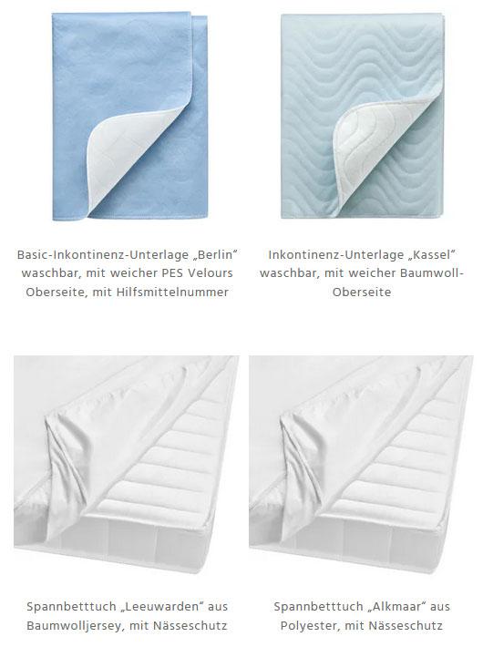 Inkontinenzauflagen und saugfähige Bettwäsche